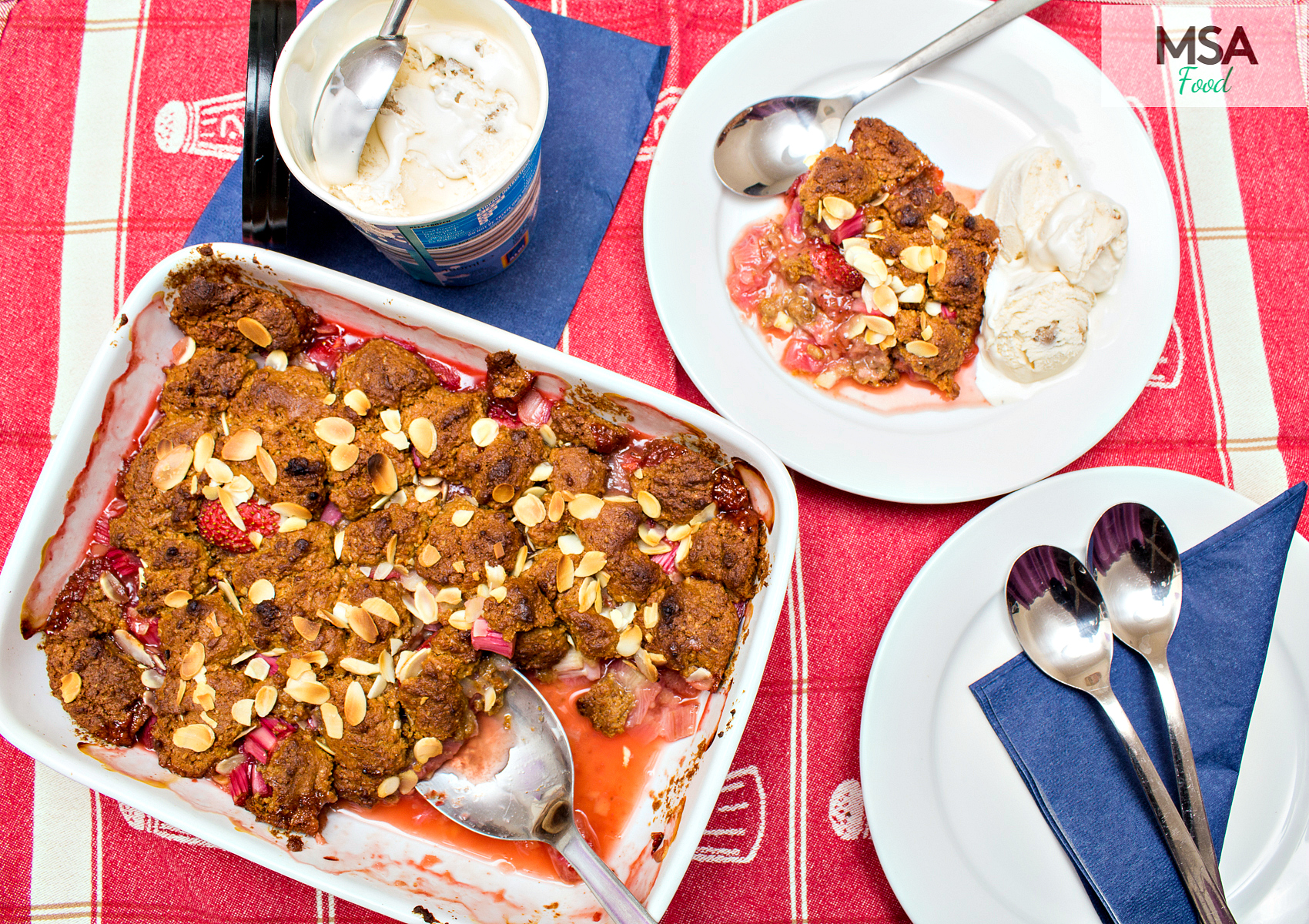 MSA's HEALTHY-ER RHUBARB AND STRAWBERRY COBBLER